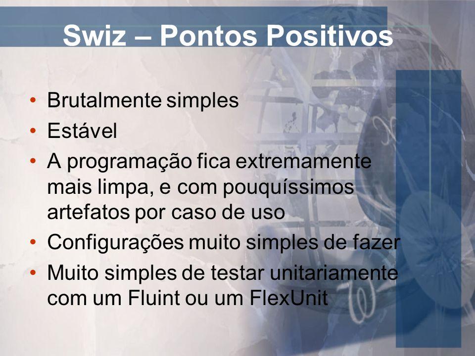 Swiz – Pontos Positivos Brutalmente simples Estável A programação fica extremamente mais limpa, e com pouquíssimos artefatos por caso de uso Configura