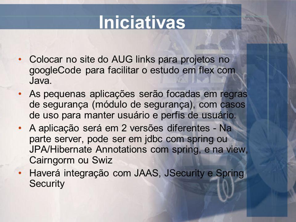 Iniciativas Colocar no site do AUG links para projetos no googleCode para facilitar o estudo em flex com Java. As pequenas aplicações serão focadas em