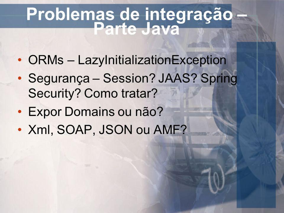 Problemas de integração – Parte Java ORMs – LazyInitializationException Segurança – Session? JAAS? Spring Security? Como tratar? Expor Domains ou não?
