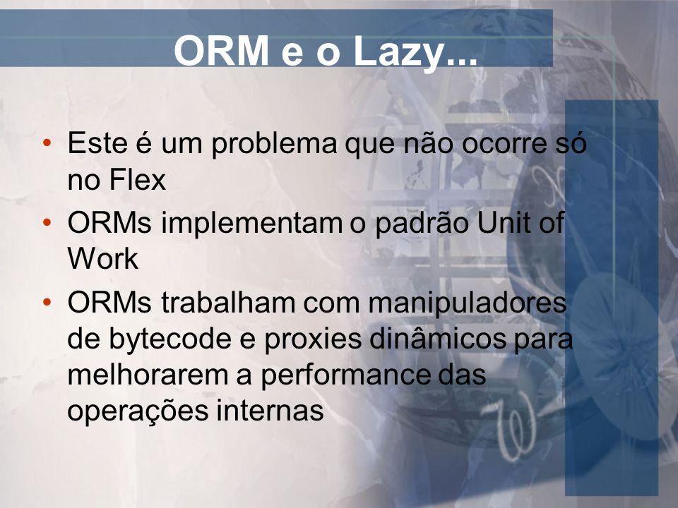 ORM e o Lazy – Possíveis soluções Configurar todas as associações como eager Inicializar os dados na unit of work apropriada, fazendo um design apropriado da arquitetura da aplicação Taking drugs – utilizar frameworks que remediam este problema, como o dpHibernate (Flex Only) e o Gilead (Nasceu para o GWT, mas já é utilizado para Flex também)