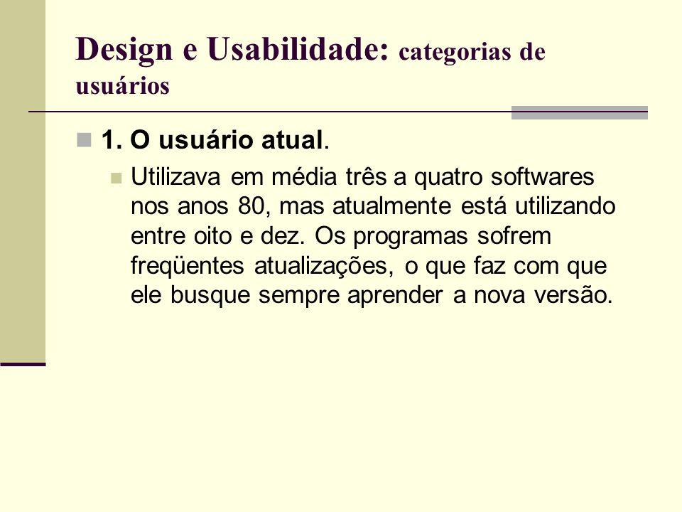 Design e Usabilidade: categorias de usuários 1. O usuário atual. Utilizava em média três a quatro softwares nos anos 80, mas atualmente está utilizand