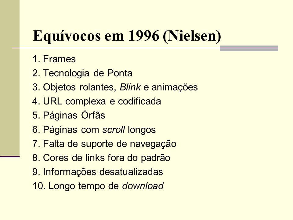 Equívocos em 1996 (Nielsen) 1. Frames 2. Tecnologia de Ponta 3. Objetos rolantes, Blink e animações 4. URL complexa e codificada 5. Páginas Órfãs 6. P
