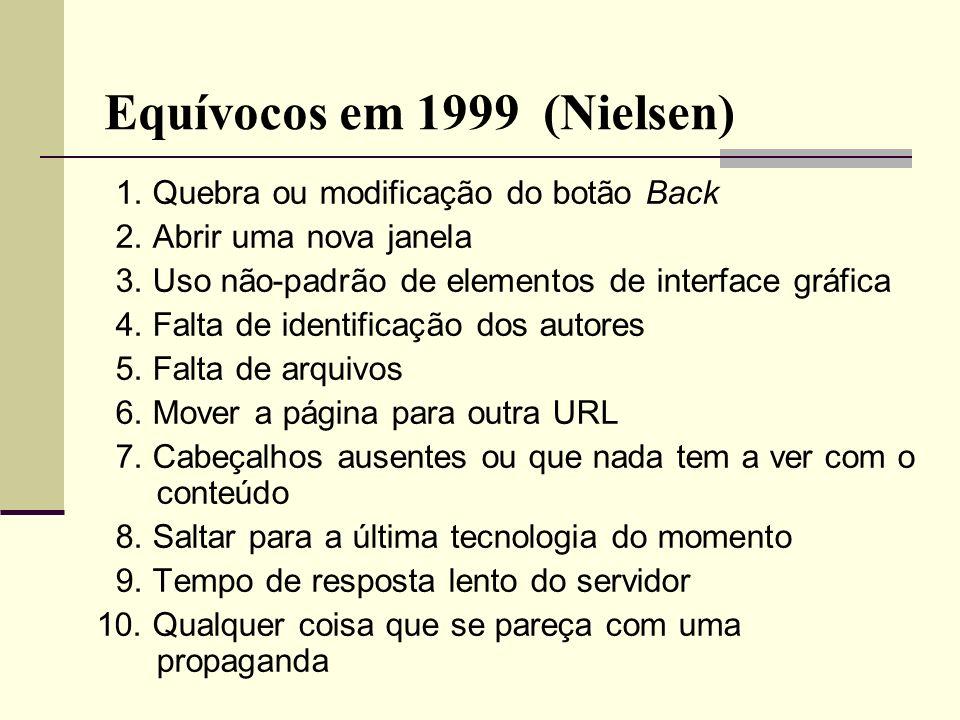 Equívocos em 1999 (Nielsen) 1. Quebra ou modificação do botão Back 2. Abrir uma nova janela 3. Uso não-padrão de elementos de interface gráfica 4. Fal
