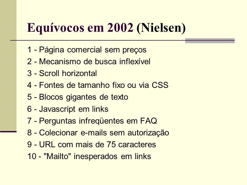 Equívocos em 2002 (Nielsen) 1 - Página comercial sem preços 2 - Mecanismo de busca inflexível 3 - Scroll horizontal 4 - Fontes de tamanho fixo ou via