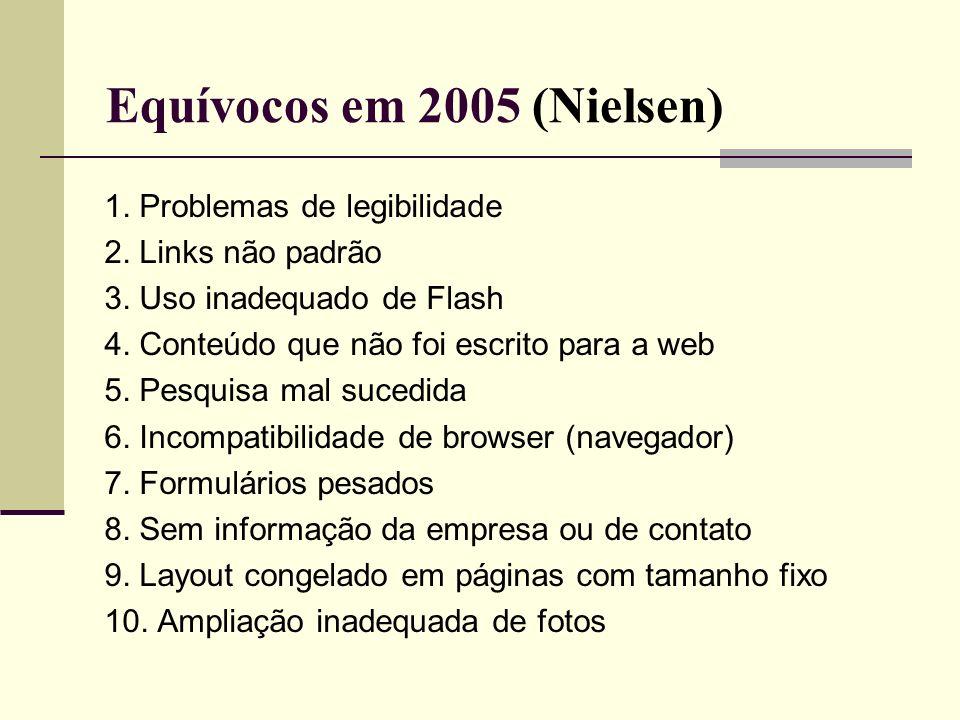 Equívocos em 2005 (Nielsen) 1. Problemas de legibilidade 2. Links não padrão 3. Uso inadequado de Flash 4. Conteúdo que não foi escrito para a web 5.