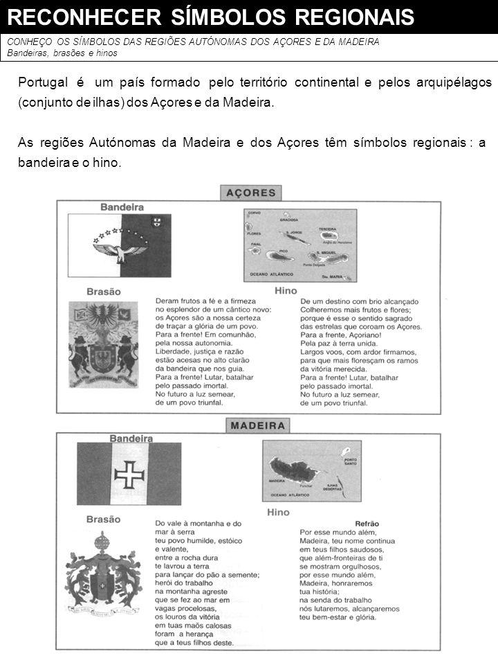 RECONHECER SÍMBOLOS REGIONAIS CONHEÇO OS SÍMBOLOS DAS REGIÕES AUTÓNOMAS DOS AÇORES E DA MADEIRA Bandeiras, brasões e hinos Portugal é um país formado