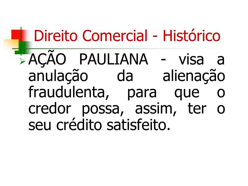 Direito Comercial - Histórico AÇÃO PAULIANA - visa a anulação da alienação fraudulenta, para que o credor possa, assim, ter o seu crédito satisfeito.