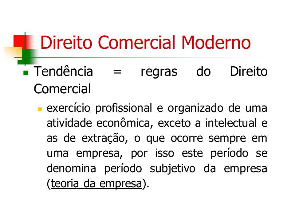 Direito Comercial Moderno Tendência = regras do Direito Comercial exercício profissional e organizado de uma atividade econômica, exceto a intelectual
