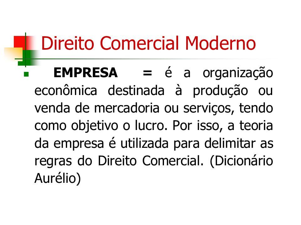 Direito Comercial Moderno EMPRESA = é a organização econômica destinada à produção ou venda de mercadoria ou serviços, tendo como objetivo o lucro. Po