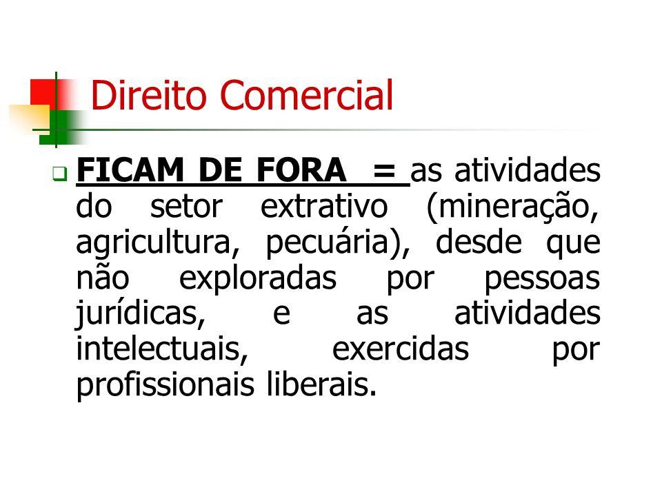 Direito Comercial FICAM DE FORA = as atividades do setor extrativo (mineração, agricultura, pecuária), desde que não exploradas por pessoas jurídicas,