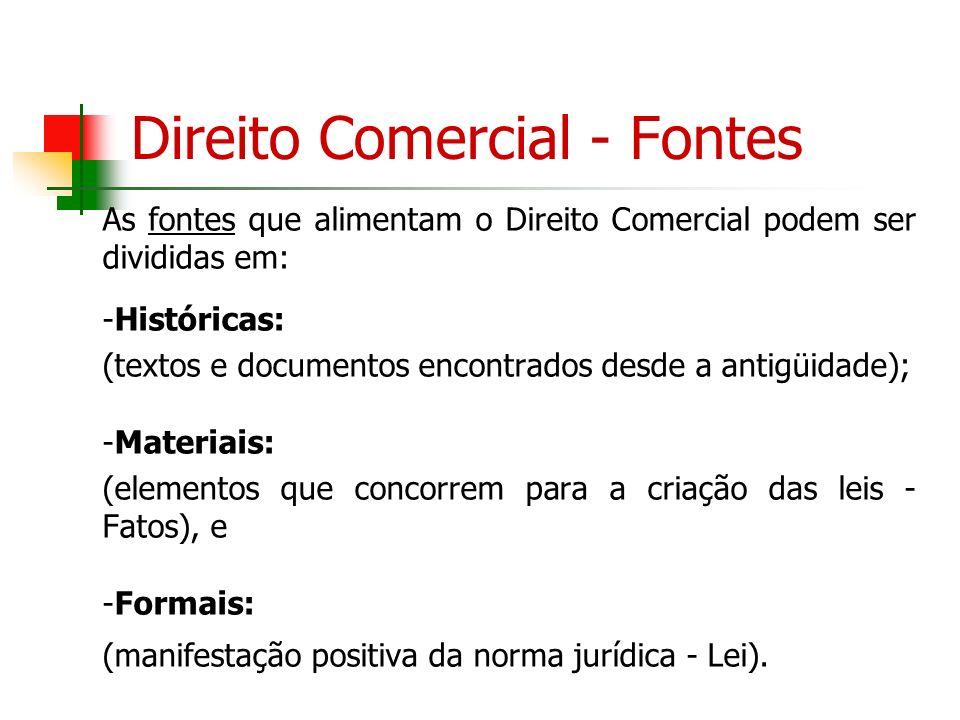 Direito Comercial - Fontes As fontes que alimentam o Direito Comercial podem ser divididas em: -Históricas: (textos e documentos encontrados desde a a