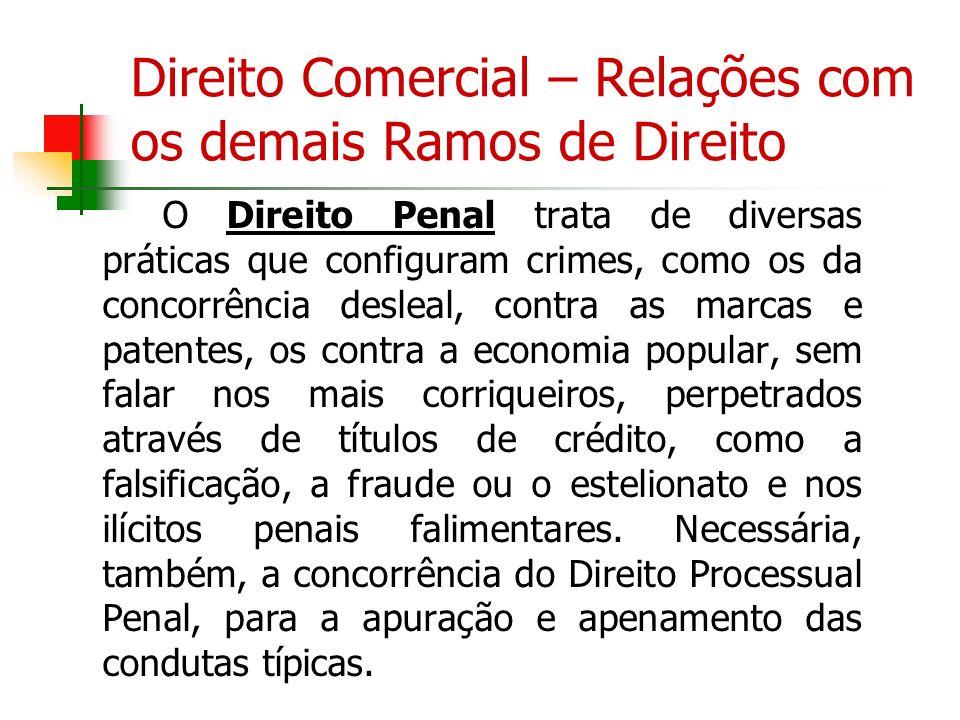 Direito Comercial – Relações com os demais Ramos de Direito O Direito Penal trata de diversas práticas que configuram crimes, como os da concorrência