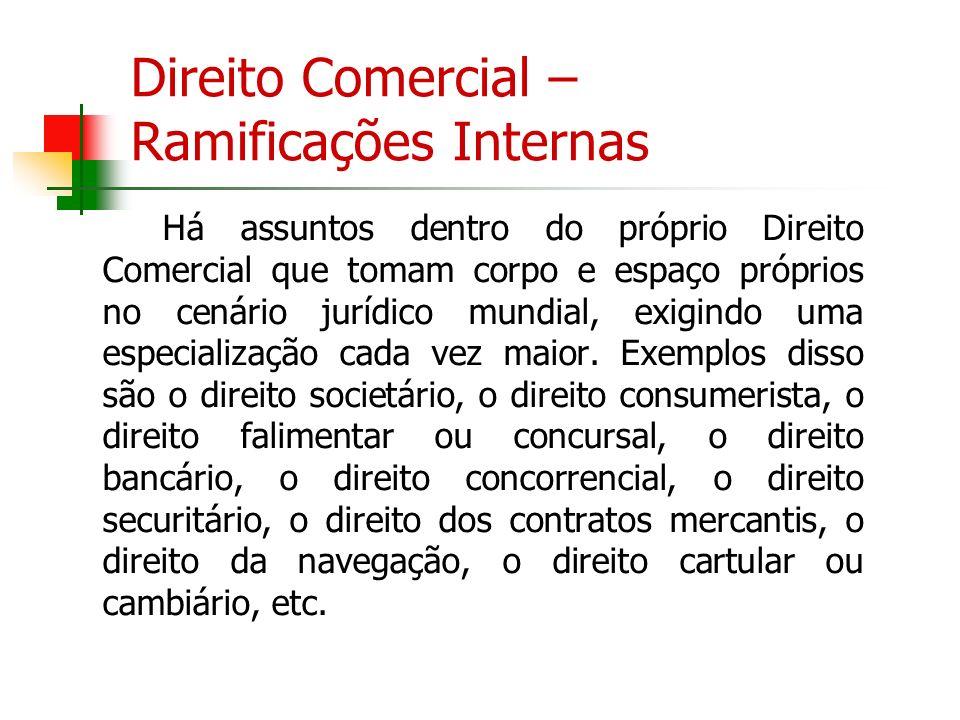 Direito Comercial – Ramificações Internas Há assuntos dentro do próprio Direito Comercial que tomam corpo e espaço próprios no cenário jurídico mundia