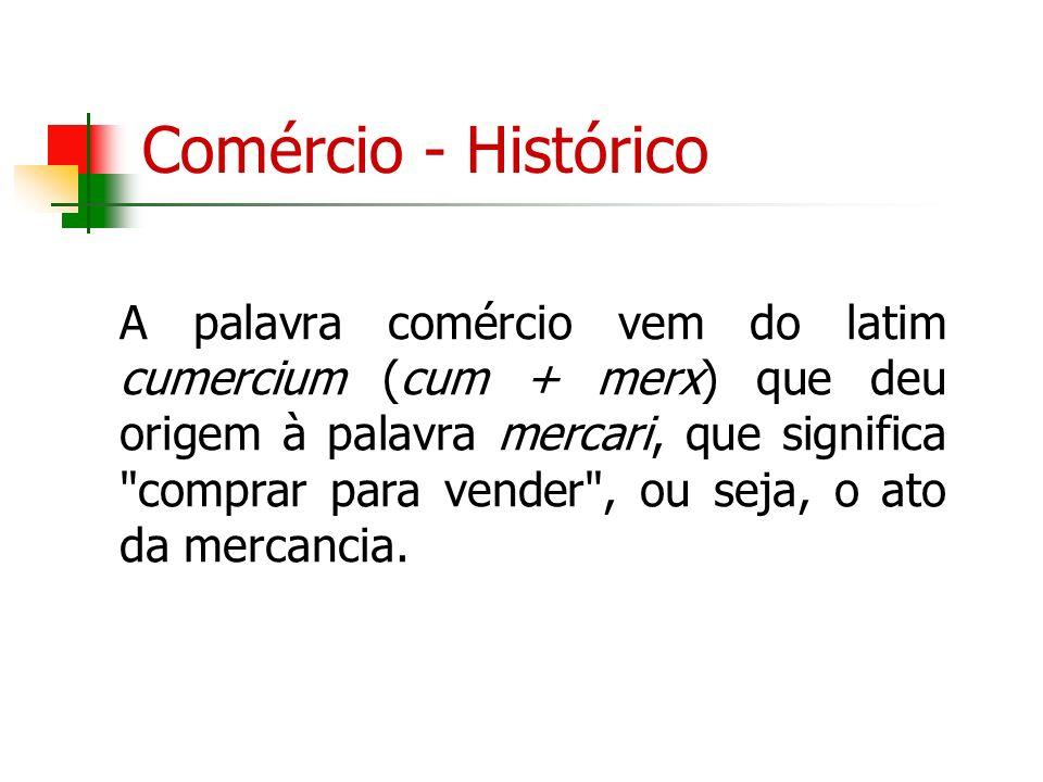 Comércio - Histórico A palavra comércio vem do latim cumercium (cum + merx) que deu origem à palavra mercari, que significa