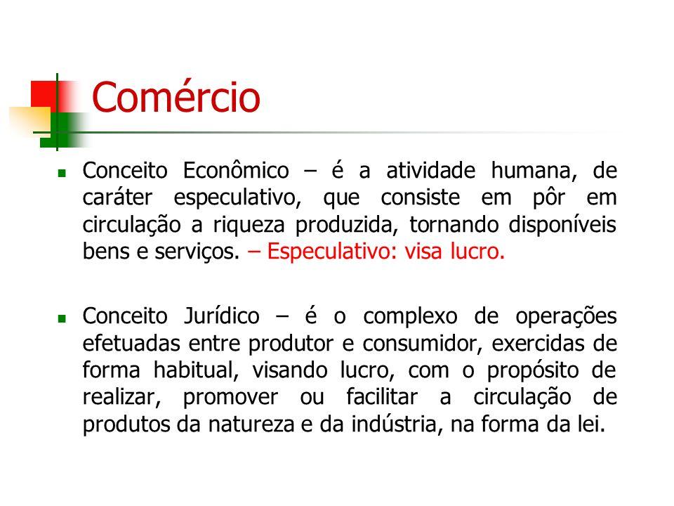 Comércio Conceito Econômico – é a atividade humana, de caráter especulativo, que consiste em pôr em circulação a riqueza produzida, tornando disponíve