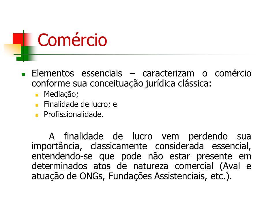 Comércio Elementos essenciais – caracterizam o comércio conforme sua conceituação jurídica clássica: Mediação; Finalidade de lucro; e Profissionalidad
