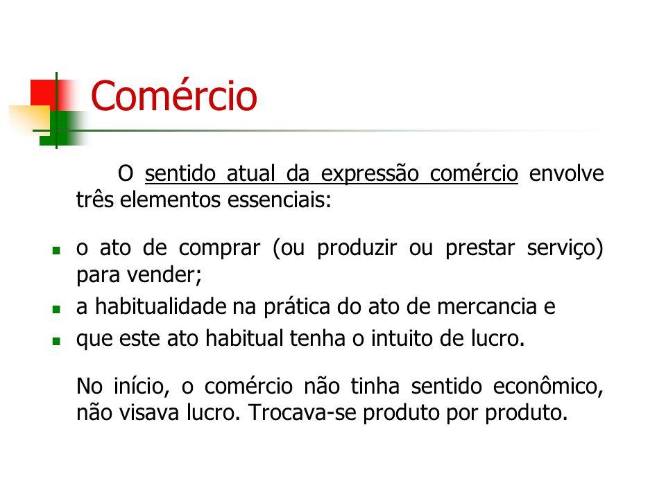 Comércio O sentido atual da expressão comércio envolve três elementos essenciais: o ato de comprar (ou produzir ou prestar serviço) para vender; a hab