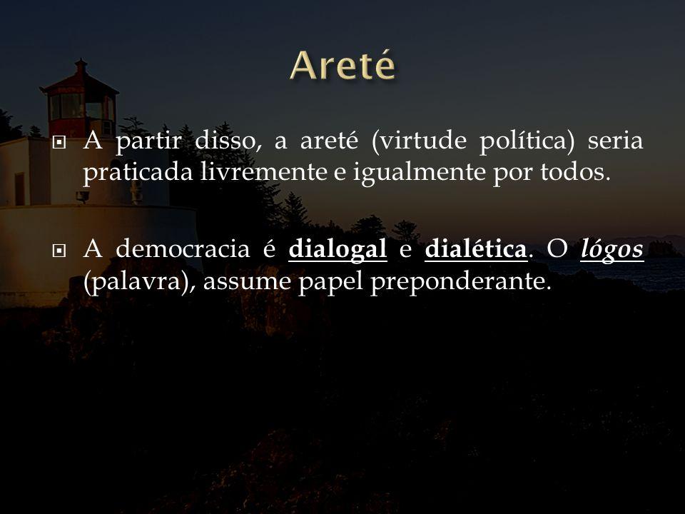 A partir disso, a areté (virtude política) seria praticada livremente e igualmente por todos. A democracia é dialogal e dialética. O lógos (palavra),