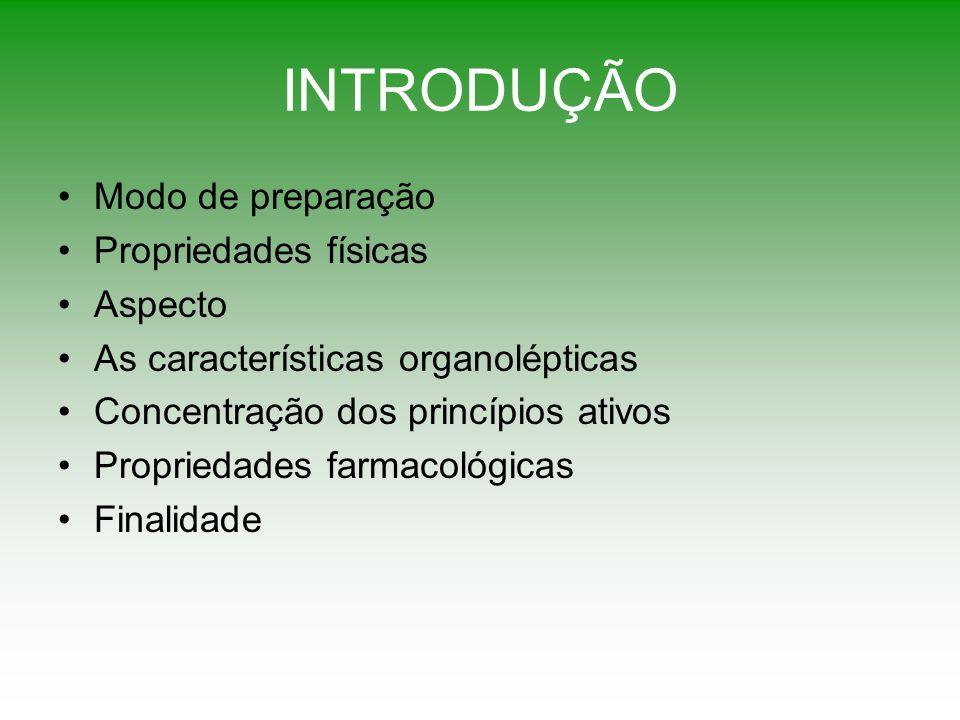 INTRODUÇÃO Modo de preparação Propriedades físicas Aspecto As características organolépticas Concentração dos princípios ativos Propriedades farmacoló