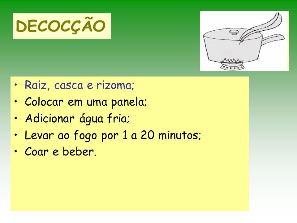 Raiz, casca e rizoma; Colocar em uma panela; Adicionar água fria; Levar ao fogo por 1 a 20 minutos; Coar e beber.
