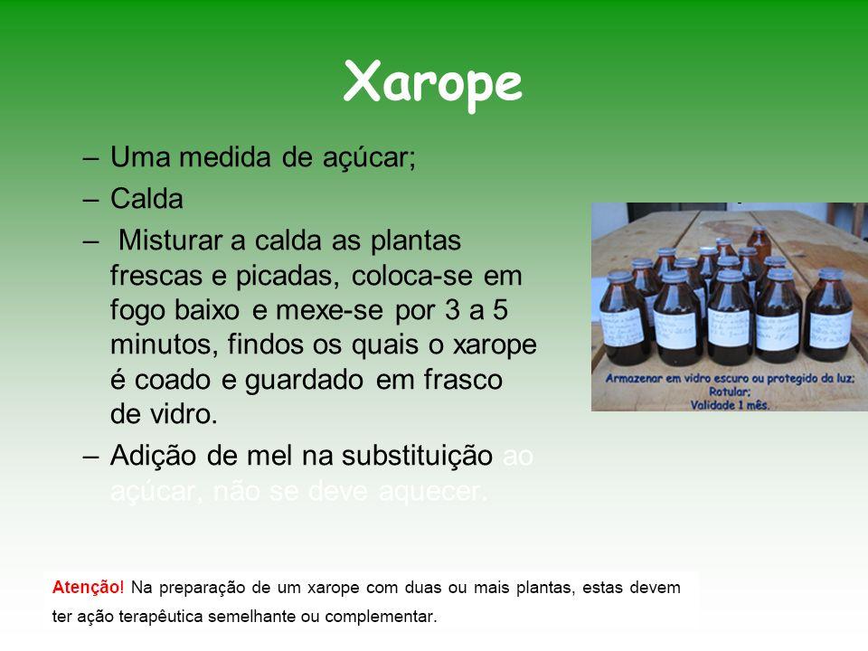 Xarope –Uma medida de açúcar; –Calda – Misturar a calda as plantas frescas e picadas, coloca-se em fogo baixo e mexe-se por 3 a 5 minutos, findos os q