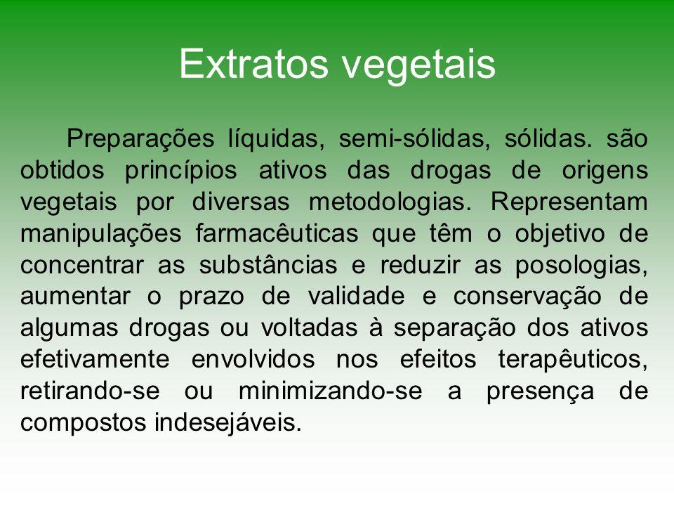 Extratos vegetais Preparações líquidas, semi-sólidas, sólidas. são obtidos princípios ativos das drogas de origens vegetais por diversas metodologias.
