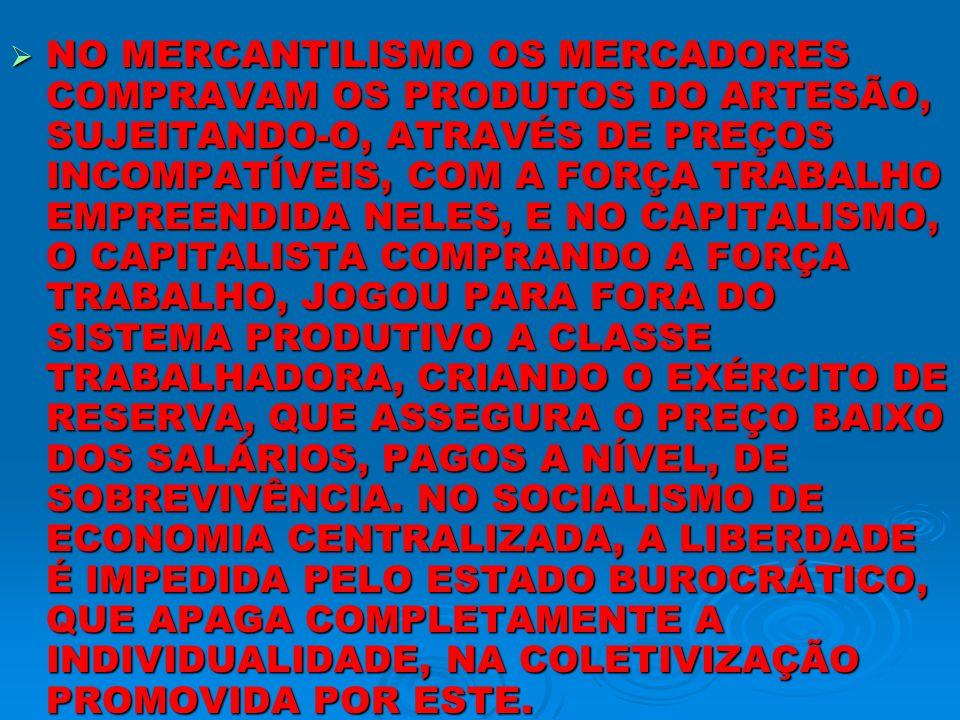 NO MERCANTILISMO OS MERCADORES COMPRAVAM OS PRODUTOS DO ARTESÃO, SUJEITANDO-O, ATRAVÉS DE PREÇOS INCOMPATÍVEIS, COM A FORÇA TRABALHO EMPREENDIDA NELES