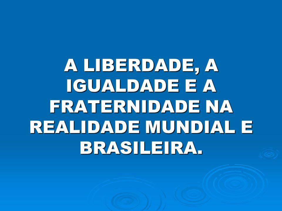 A LIBERDADE, A IGUALDADE E A FRATERNIDADE NA REALIDADE MUNDIAL E BRASILEIRA.