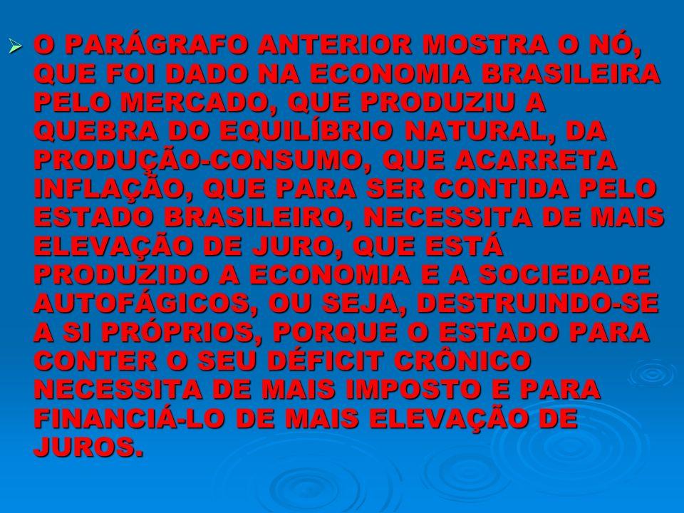 O PARÁGRAFO ANTERIOR MOSTRA O NÓ, QUE FOI DADO NA ECONOMIA BRASILEIRA PELO MERCADO, QUE PRODUZIU A QUEBRA DO EQUILÍBRIO NATURAL, DA PRODUÇÃO-CONSUMO,