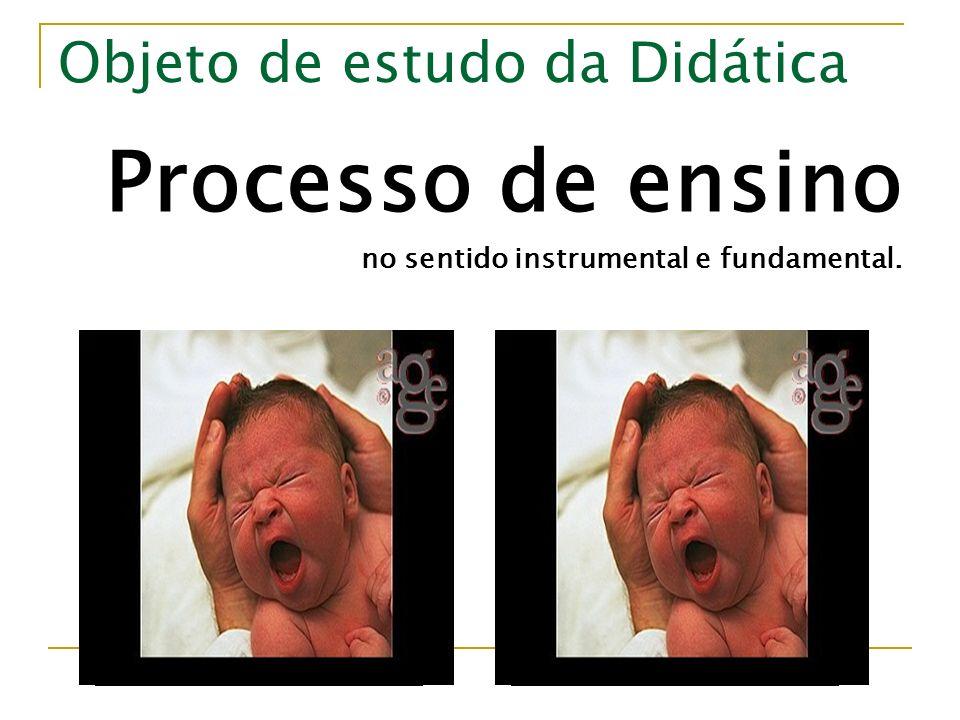 Objeto de estudo da Didática Processo de ensino no sentido instrumental e fundamental.