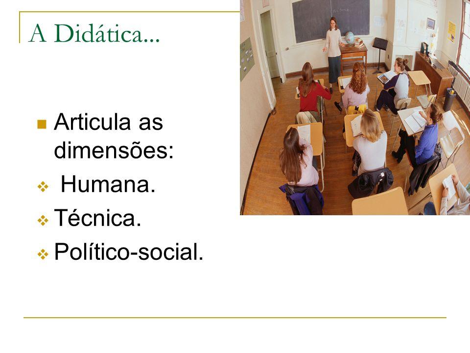 A Didática... Articula as dimensões: Humana. Técnica. Político-social.