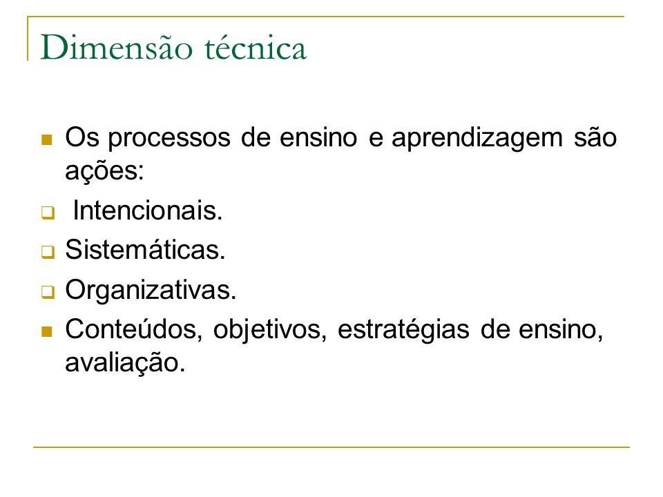 Dimensão técnica Os processos de ensino e aprendizagem são ações: Intencionais. Sistemáticas. Organizativas. Conteúdos, objetivos, estratégias de ensi