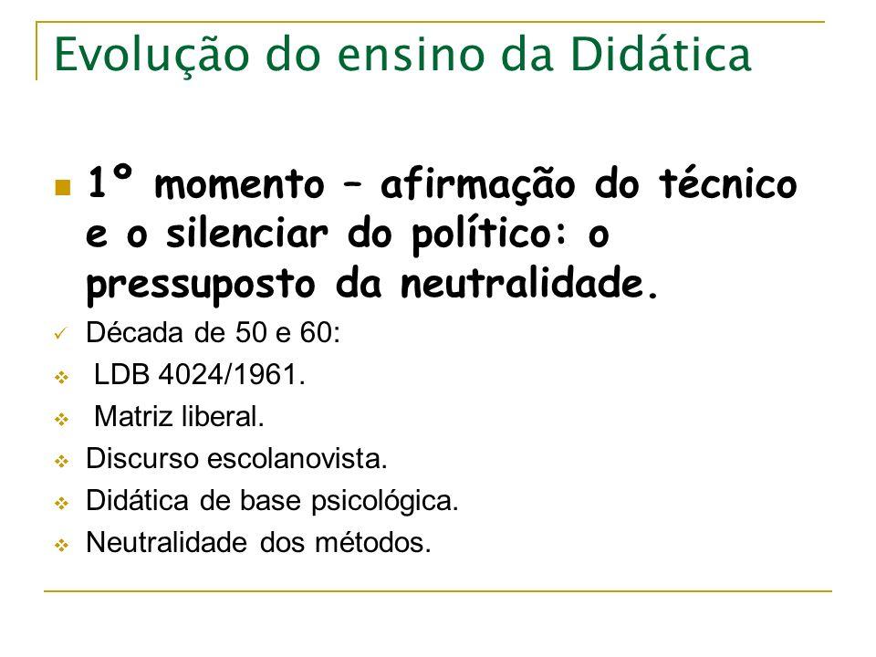 Evolução do ensino da Didática 1º momento – afirmação do técnico e o silenciar do político: o pressuposto da neutralidade. Década de 50 e 60: LDB 4024