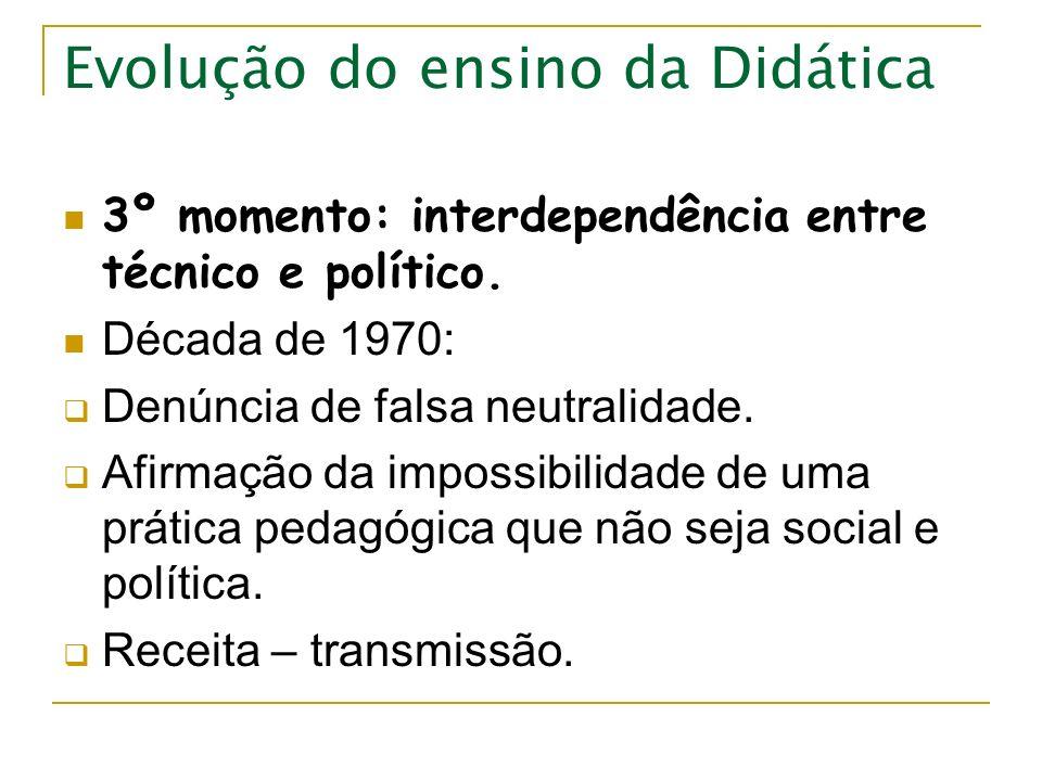 Evolução do ensino da Didática 3º momento: interdependência entre técnico e político. Década de 1970: Denúncia de falsa neutralidade. Afirmação da imp