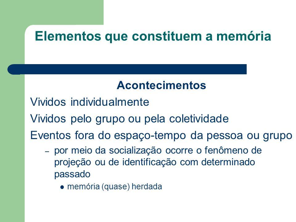 Elementos que constituem a memória Acontecimentos Vividos individualmente Vividos pelo grupo ou pela coletividade Eventos fora do espaço-tempo da pessoa ou grupo – por meio da socialização ocorre o fenômeno de projeção ou de identificação com determinado passado memória (quase) herdada