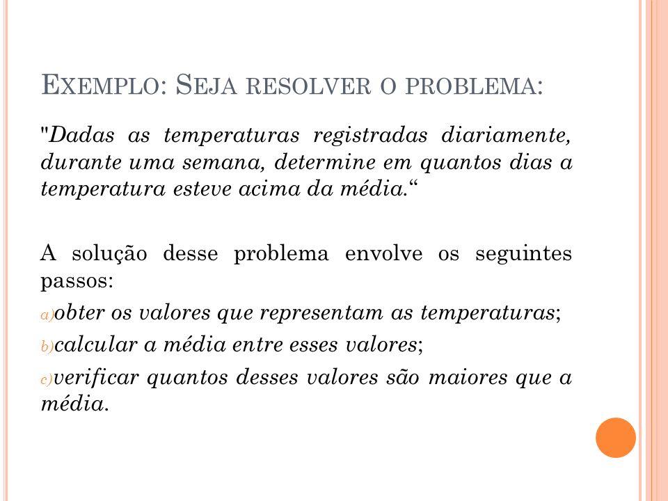 E XEMPLO : S EJA RESOLVER O PROBLEMA :