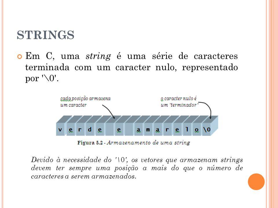 STRINGS Em C, uma string é uma série de caracteres terminada com um caracter nulo, representado por '\0'. Devido à necessidade do '\ 0 ', os vetores q