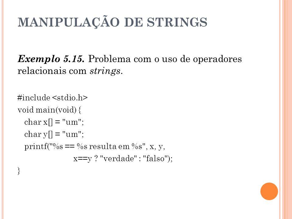 MANIPULAÇÃO DE STRINGS Exemplo 5.15. Problema com o uso de operadores relacionais com strings. #include void main(void) { char x[] =