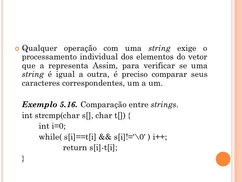 Qualquer operação com uma string exige o processamento individual dos elementos do vetor que a representa Assim, para verificar se uma string é igua
