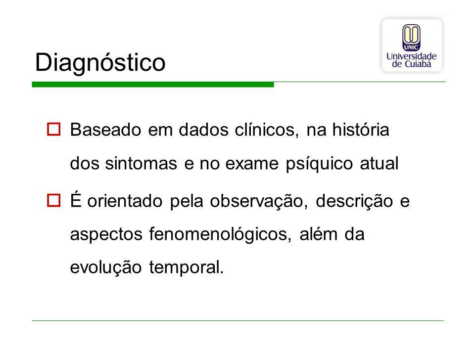 Diagnóstico Baseado em dados clínicos, na história dos sintomas e no exame psíquico atual É orientado pela observação, descrição e aspectos fenomenoló