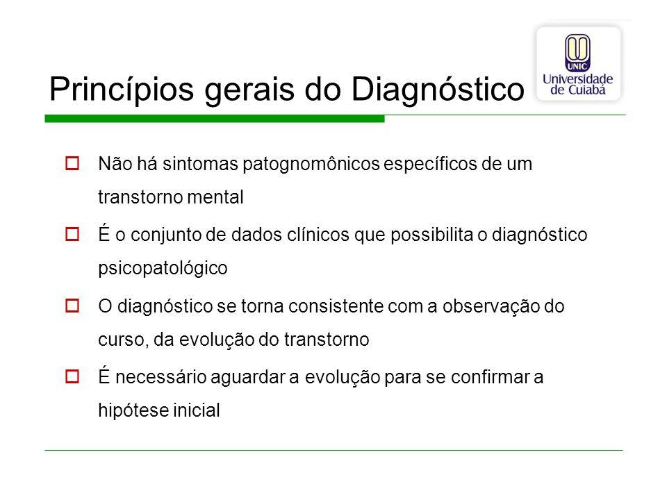 Princípios gerais do Diagnóstico Não há sintomas patognomônicos específicos de um transtorno mental É o conjunto de dados clínicos que possibilita o d