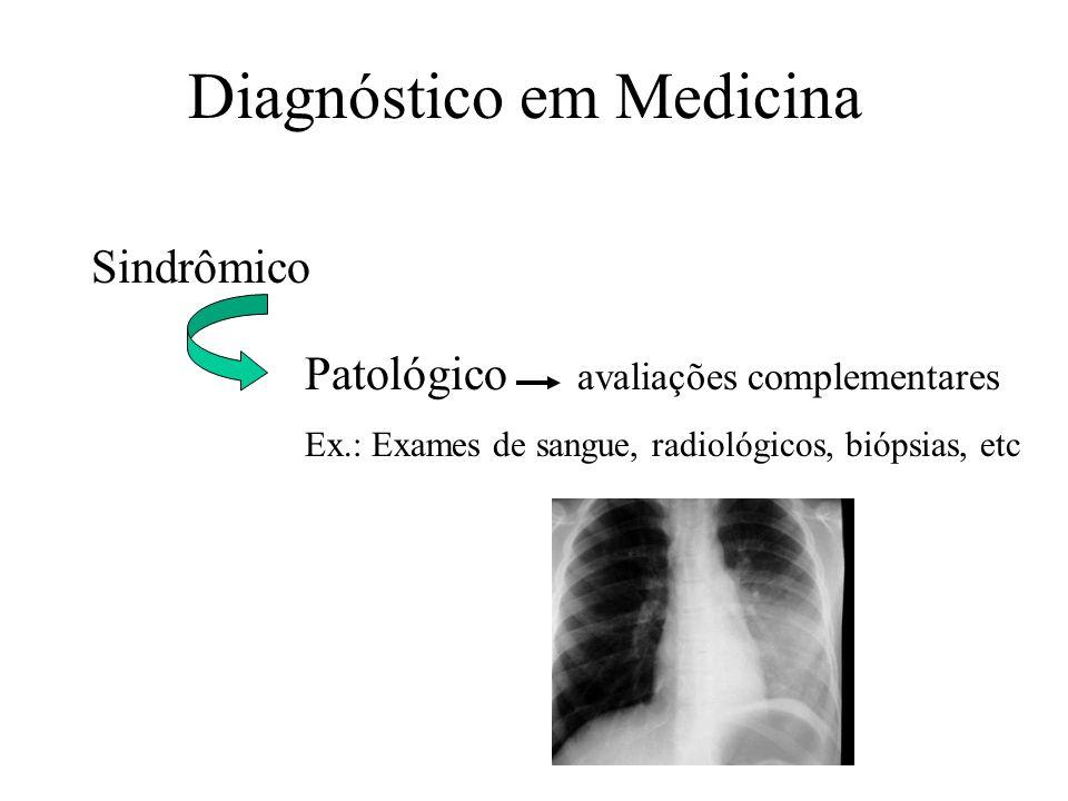 Diagnóstico em Medicina Sindrômico Patológico avaliações complementares Ex.: Exames de sangue, radiológicos, biópsias, etc