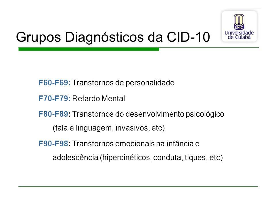 Grupos Diagnósticos da CID-10 F60-F69: Transtornos de personalidade F70-F79: Retardo Mental F80-F89: Transtornos do desenvolvimento psicológico (fala