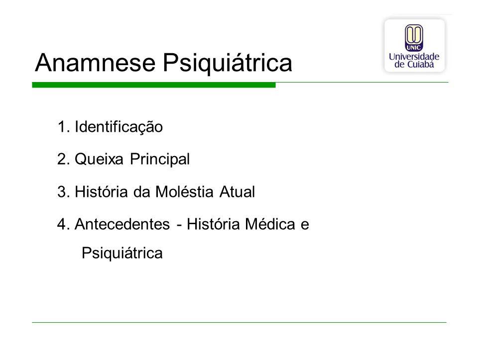 Anamnese Psiquiátrica 1. Identificação 2. Queixa Principal 3. História da Moléstia Atual 4. Antecedentes - História Médica e Psiquiátrica