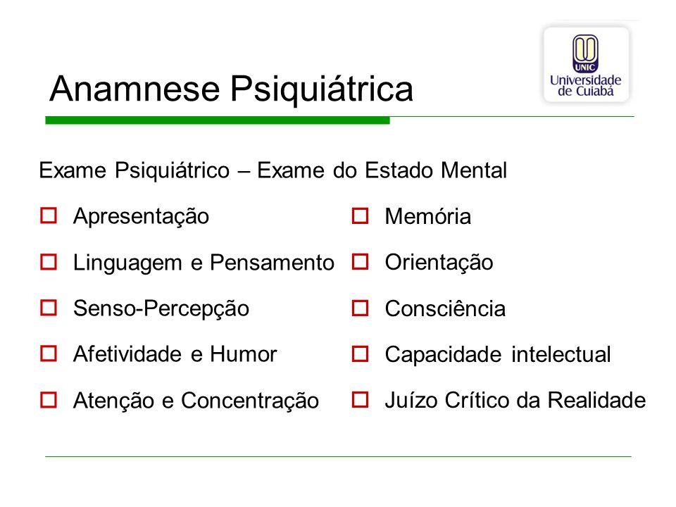 Anamnese Psiquiátrica Exame Psiquiátrico – Exame do Estado Mental Apresentação Linguagem e Pensamento Senso-Percepção Afetividade e Humor Atenção e Co