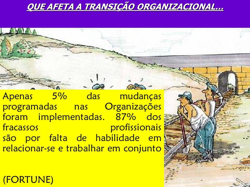 QUE AFETA A TRANSIÇÃO ORGANIZACIONAL… Apenas 5% das mudanças programadas nas Organizações foram implementadas. 87% dos fracassos profissionais são por