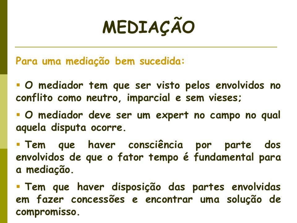 Para uma mediação bem sucedida: O mediador tem que ser visto pelos envolvidos no conflito como neutro, imparcial e sem vieses; O mediador deve ser um