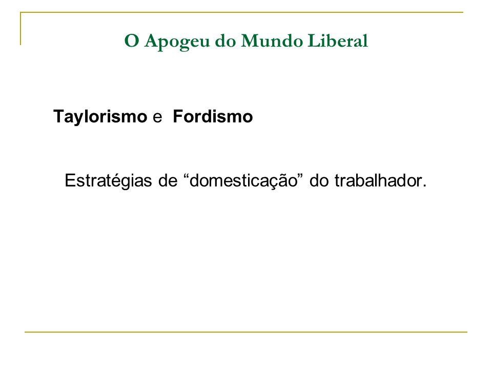 O Apogeu do Mundo Liberal Taylorismo e Fordismo Estratégias de domesticação do trabalhador.