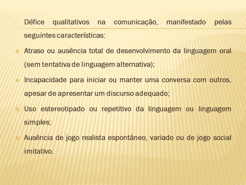 - Défice qualitativos na comunicação, manifestado pelas seguintes características: Atraso ou ausência total de desenvolvimento da linguagem oral (sem