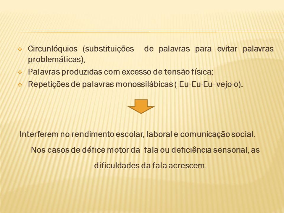 Circunlóquios (substituições de palavras para evitar palavras problemáticas); Palavras produzidas com excesso de tensão física; Repetições de palavras